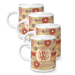 Chevron & Fall Flowers Espresso Mugs - Set of 4 (Personalized)