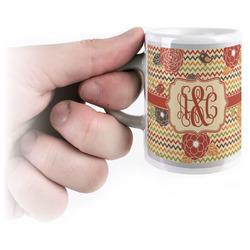 Chevron & Fall Flowers Espresso Cups (Personalized)