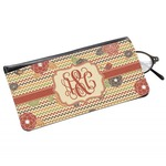 Chevron & Fall Flowers Genuine Leather Eyeglass Case (Personalized)