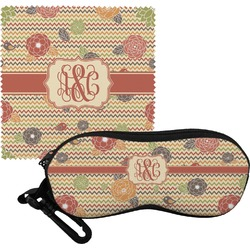 Chevron & Fall Flowers Eyeglass Case & Cloth (Personalized)
