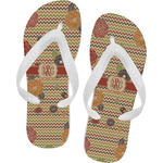 Chevron & Fall Flowers Flip Flops (Personalized)