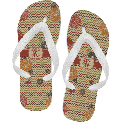 Chevron & Fall Flowers Flip Flops - XSmall (Personalized)