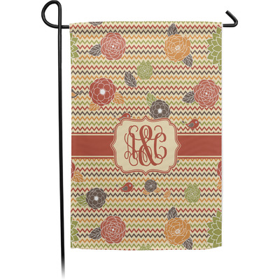 Chevron & Fall Flowers Garden Flag - Single or Double Sided (Personalized)
