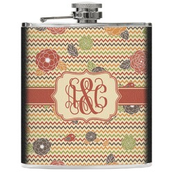 Chevron & Fall Flowers Genuine Leather Flask (Personalized)