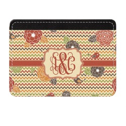Chevron & Fall Flowers Genuine Leather Front Pocket Wallet (Personalized)