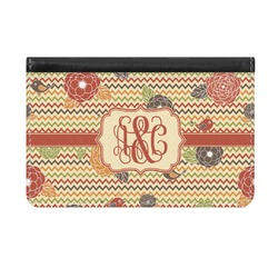 Chevron & Fall Flowers Genuine Leather ID & Card Wallet - Slim Style (Personalized)