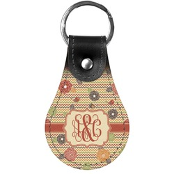 Chevron & Fall Flowers Genuine Leather  Keychain (Personalized)