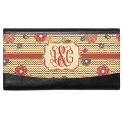 Chevron & Fall Flowers Genuine Leather Ladies Wallet (Personalized)