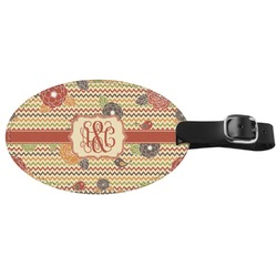 Chevron & Fall Flowers Genuine Leather Oval Luggage Tag (Personalized)