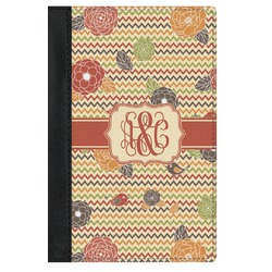 Chevron & Fall Flowers Genuine Leather Passport Cover (Personalized)