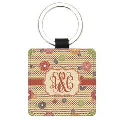 Chevron & Fall Flowers Genuine Leather Rectangular Keychain (Personalized)