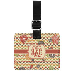 Chevron & Fall Flowers Genuine Leather Luggage Tag w/ Couple's Names