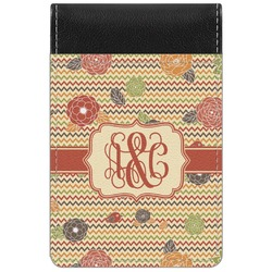 Chevron & Fall Flowers Genuine Leather Small Memo Pad (Personalized)