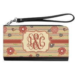 Chevron & Fall Flowers Genuine Leather Smartphone Wrist Wallet (Personalized)