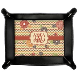 Chevron & Fall Flowers Genuine Leather Valet Tray (Personalized)
