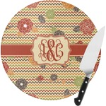 Chevron & Fall Flowers Round Glass Cutting Board (Personalized)