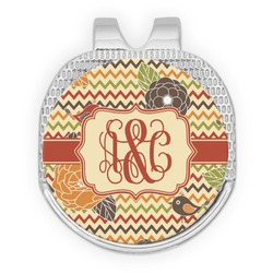 Chevron & Fall Flowers Golf Ball Marker - Hat Clip