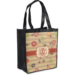 Chevron & Fall Flowers Grocery Bag (Personalized)
