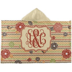 Chevron & Fall Flowers Kids Hooded Towel (Personalized)