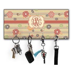 Chevron & Fall Flowers Key Hanger w/ 4 Hooks (Personalized)