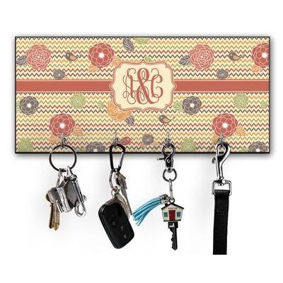 Chevron & Fall Flowers Key Hanger w/ 4 Hooks w/ Monogram