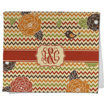 Chevron & Fall Flowers Kitchen Towel - Full Print (Personalized)
