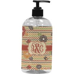Chevron & Fall Flowers Plastic Soap / Lotion Dispenser (Personalized)