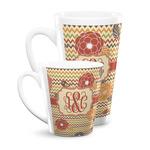 Chevron & Fall Flowers Latte Mug (Personalized)