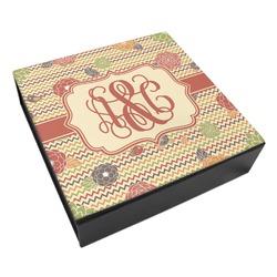 Chevron & Fall Flowers Leatherette Keepsake Box - 3 Sizes (Personalized)