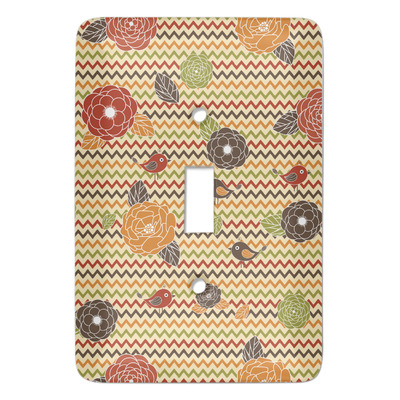 Chevron & Fall Flowers Light Switch Cover (Single Toggle) (Personalized)