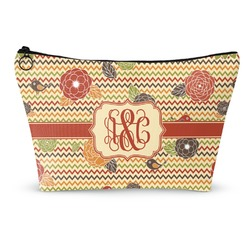 Chevron & Fall Flowers Makeup Bags (Personalized)