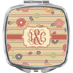 Chevron & Fall Flowers Compact Makeup Mirror (Personalized)