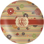 Chevron & Fall Flowers Melamine Plate (Personalized)