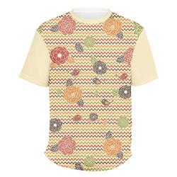 Chevron & Fall Flowers Men's Crew T-Shirt (Personalized)