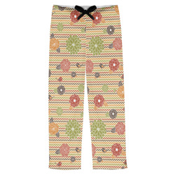 Chevron & Fall Flowers Mens Pajama Pants (Personalized)