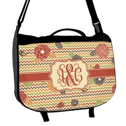 Chevron & Fall Flowers Messenger Bag (Personalized)