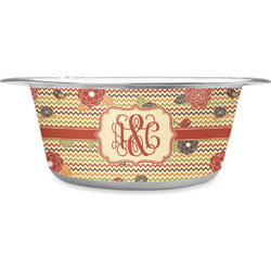 Chevron & Fall Flowers Stainless Steel Pet Bowl (Personalized)