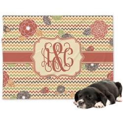 Chevron & Fall Flowers Minky Dog Blanket (Personalized)