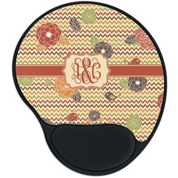 Chevron & Fall Flowers Mouse Pad with Wrist Support