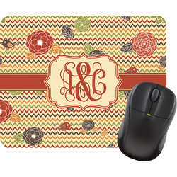 Chevron & Fall Flowers Mouse Pads (Personalized)