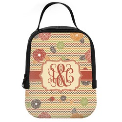 Chevron & Fall Flowers Neoprene Lunch Tote (Personalized)