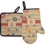 Chevron & Fall Flowers Oven Mitt & Pot Holder (Personalized)