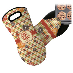 Chevron & Fall Flowers Neoprene Oven Mitt (Personalized)