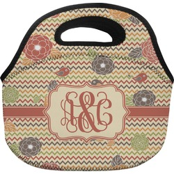 Chevron & Fall Flowers Lunch Bag (Personalized)