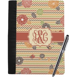 Chevron & Fall Flowers Notebook Padfolio (Personalized)