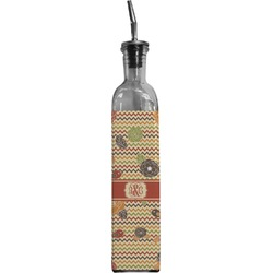 Chevron & Fall Flowers Oil Dispenser Bottle (Personalized)