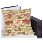 Chevron & Fall Flowers Outdoor Pillow (Personalized)