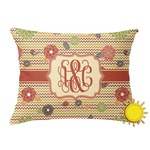 Chevron & Fall Flowers Outdoor Throw Pillow (Rectangular) (Personalized)