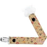 Chevron & Fall Flowers Pacifier Clips (Personalized)