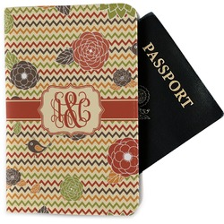 Chevron & Fall Flowers Passport Holder - Fabric (Personalized)